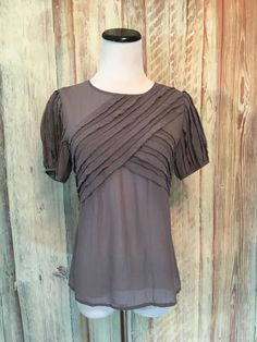 0d01b53b66fa3c In Add Minus Gray Silk Blouse Top Ruffle Pleat Semi Sheer Short Sleeve sz 4  EUC