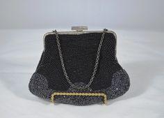 Vintage beaded evening bag, Art Noveau style pattern bag, 1940's beaded bag, beaded handbag
