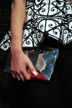 Metallic clutch and nails from Kate Spade, New York, Spring 2014.