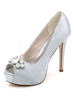 94f6add9030 Silver Wedding Shoes Platform Peep Toe Rhinestone Slip On High Heel Bridal  Shoes