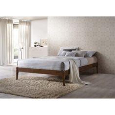 Baxton Studio Damon Mid-century Modern Walnut Finishing Solid Wood King or Queen Size Platform Bed Frame