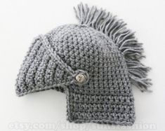 Knight Helmet Hat Crochet Slouch Mens Convertible by sunsfashion