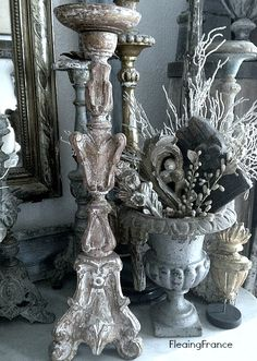 Relics, Sculpture, Motifs for the Home : FleaingFrance….Altar Candlestick -Read More – Dream Furniture, Painted Furniture, Furniture Design, French Decor, French Country Decorating, Vintage Vignettes, Table Top Design, Gris Rose, French Country Cottage