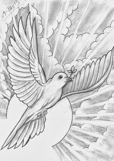 Tattoo Sketch A Day: Religious October – – Tattoo Sketches & Tattoo Drawings Cloud Tattoo, Christian Drawings, Sketches, Drawings, Tattoo Art Drawings, Half Sleeve Tattoo Stencils, Dove Tattoos, Art, Tattoo Sketches