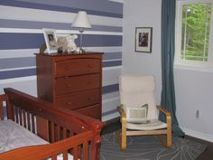 Purple stripe accent wall using frog tape