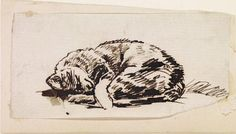 Study of a Sleeping Cat late - c. William Holman HUNT Birmingham Museums and Art Gallery, pen and ink drawing John Everett Millais, Birmingham Museum, International Cat Day, Museum Art Gallery, Cat Sketch, Pre Raphaelite, Sleepy Cat, Cat Drawing, Cat Design