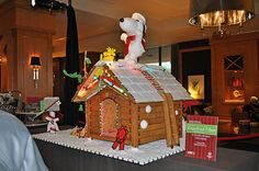 """A Charlie Brown Christmas"" Giant Gingerbread House with Snoopy and Woodstock on top!"