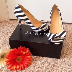 "HP 7/4 J.Crew Evie Stripe Peep-Toe Pump HOST PICK - Vacation Vibes Party 7/4 EUC!! Worn one time! Navy & ivory. Beautiful & perfectly on-trend for this season! Size 8, approx heel height 3 7/8"" with 1/2"" platform. Box included. ✨Bundle & Save!✨ J. Crew Shoes Heels"
