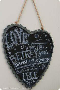 Chalkboard art...The House of Smiths - Home DIY Blog - Interior Decorating Blog - Decorating on a Budget Blog