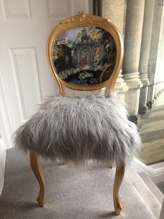 Gold Upholstered Chair With Christian Lacroix Panel And Faux Mongolian Fur.