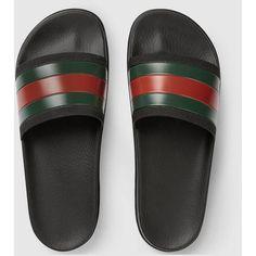 Gucci Web Slide Sandal ($190) ❤ liked on Polyvore featuring men's fashion, men's shoes, men's sandals, gucci mens sandals, mens rubber shoes and gucci mens shoes