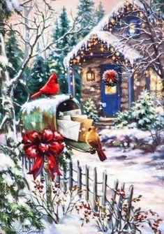 Cardinals at the Mailbox - Boxed Christmas Cards Boxed Christmas Cards, Old Christmas, Old Fashioned Christmas, Christmas Printables, Beautiful Christmas, Xmas, Holiday Cards, Christmas Stockings, Illustration Noel