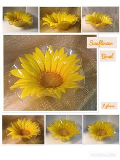 Glover: Sunflower and Daisy bowls Fused Glass Plates, Fused Glass Art, Glass Dishes, Glass Bowls, Glass Artwork, Glass Wall Art, Stained Glass Flowers, Stained Glass Patterns, Flower Bowl