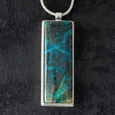 Items similar to Vine featuring 'Spiderweb Chrysocolla' - Hand-cut Reversible Sterling Silver Pendant on Etsy Sterling Silver Pendants, Silver Jewelry, Monkeys, Vines, Pendant Necklace, Gemstones, Handmade, Etsy, Rompers