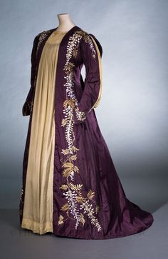 Tea Gown embroidered with Wisteria, Great Britain, c. 1887-89. FIDM# 2007.5.22. From the collections of the Fashion Institute of Design & Merchandising Museum.