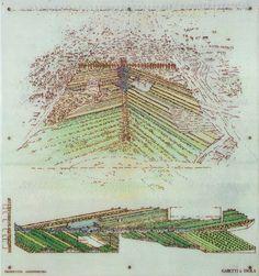 Riconversione area Bicocca, Gabetti & Isola, 1985, Milano.  Idea inedita di organizzazione urbana, distante dal contesto contemporaneo, recupera antichi tracciati agricoli in rif. alla struttura dell'aggeratio romana.