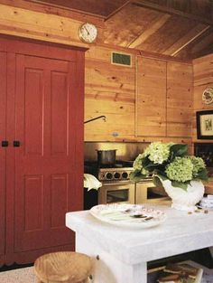 I like the red and white with the knotty pine