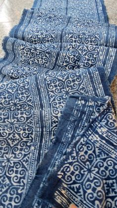 Handwoven cotton Vintage fabrics  Indigo Blue Hmong by dellshop, $24.99
