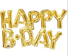 Happy B-Day Gold Balloon