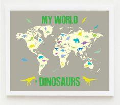 Map Children Printable Nursery Boy Dinosaur Wall ArtPrintable