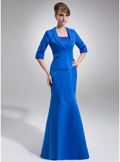 Empire Scoop Neck Floor-Length Ruffle Beading Zipper Up Regular Straps Sleeveless Yes Royal Blue Fall Winter General Plus Satin Organza Mother of the Bride Dress