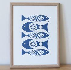 Fish Screen Print Wall Art Blue Scandinavian Retro 50s 70s A3