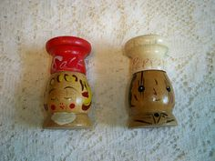 Vintage 1960s Chef Wooden Salt and Pepper Shakers by BlackRain4