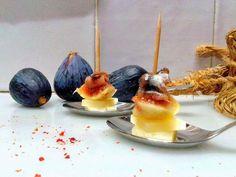 AperitivosPincho de higo, queso y anchoa.