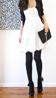 Black tights/White dress  I'm just a sucker for black/white, this is good even in winter!