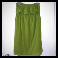 Banana Republic cotton gauze dress - NWOT Such a versatile and gorgeous dress.  Can be worn with or without the thin spaghetti straps.  Flowy Ruffles top with elastic and straight body that reaches just to the knees. NEVER WORN....EVER! Banana Republic Dresses Strapless