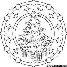 Mandala coloring for Christmas - Coloring Pages Mandala Coloring, Colouring Pages, Adult Coloring Pages, Coloring Sheets, Coloring Books, Christmas Tree With Gifts, Christmas Colors, Christmas Crafts, Kids Christmas