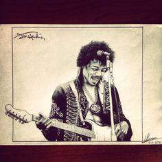 Realistic sketch Jimi Hendrix rock idol