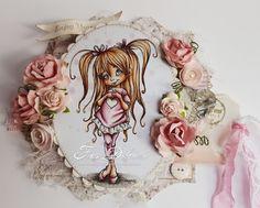 Copic Italy: The sweetness of Peggy Skin: E0000, E000, E00, E11 - R20 for cheeks Hair: E50, E51, E53, E35 Outfit / Rosa: RV91, RV93, RV95, RV99 Outfit / White: W1, W3 Soil: W1, W3, W5, W7