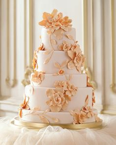 "This enchanting cake takes inspiration from one of Alberta Ferretti's ornately designed dresses. Contributing editor Wendy Kromer, owner of Wendy Kromer Specialty Confections, crafted the blooms from gum paste and attached them to tiers covered in peach-tinted fondant with royal icing. To carry the peach theme to the filling, stick with jam, not fresh fruit. ""Fondant cakes are made the day before an event, and anything fresh will start to ooze into the layers in a few hours,"" she says. As…"