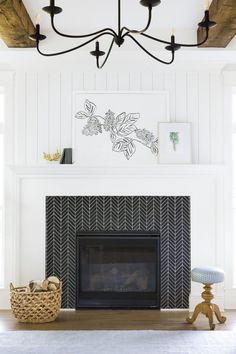 A Classic Farmhouse Meets Chic Furnishings – farmhouse fireplace tile Fireplace Tile Surround, Fireplace Surrounds, Fireplace Design, Fireplace Tiles, Fireplace Hearth, Tile Around Fireplace, White Fireplace Mantels, Stone Fireplaces, My Living Room