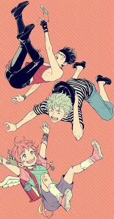 Yorozuya with Japanese music trends Anime Art Girl, Manga Art, Japanese Trends, Gintama Wallpaper, Anime Group, Okikagu, Fanart, Character Design Animation, Free Anime