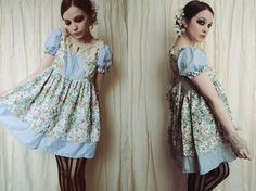 Tea Party Lolita Dress in Green and Blue $125.00
