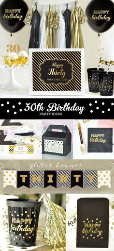 30th Birthday Ideas - 30th Birthday Decorations Sign for Him or Her can be printed with Happy 30th Birthday in black and gold and will complete your 30th Birthday Party Decorations! by Mod Party