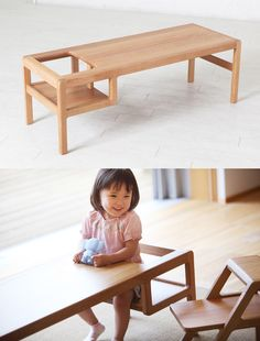 Put the Baby IN THE TABLE - to make sure they don't escape! Genious!  :D    Kid's low chair / table by toa-ringyo