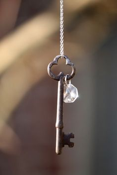 Add crystal bead prism to old key for necklace; Upcycle, Recycle, Salvage, diy, thrift, flea, repurpose!  For vintage ideas and goods shop at Estate ReSale  ReDesign, Bonita Springs, FL