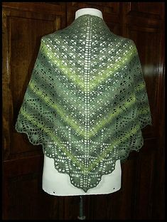 """Leaf Evolution Shawl"" knit in 70% wool / 30% nylon fingering weight yarn (pattern by Tetiana Otruta)"