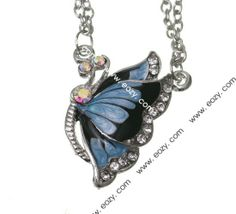 42cm Butterfly Blue Sweater Chain Necklace Jewelry Vintage Charms