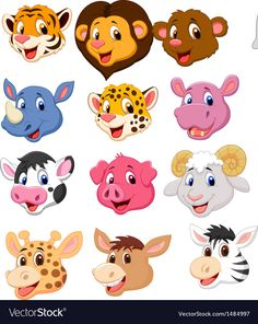 Cartoon animal head collection set vector image on VectorStock Animal Heads, Animal Faces, Simple Birthday Cards, Puppet Crafts, Retro Logos, Cute Animal Drawings, Vintage Typography, Fabric Painting, Cute Cartoon