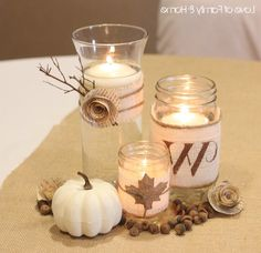 Multiple ways to decorate jars and vases in small groups to create centerpieces and ways to display in the store  Burlap Reception Decor | Emmss blog: for her wedding reception.