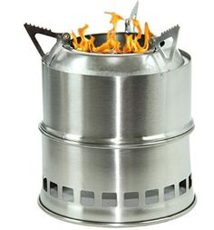 Camping Wood Burning Survival Stove Foldable Portable Made Of Light Weight Stainless Steel Easy Fuel With Twigs Leafs Solidified Alcohol Best Cooking System for Backpacking Hiking Camp Kitchen Grill >>> Details can be found by clicking on the image. Best Wood Burning Stove, Survival Stove, Stove Board, Best Camping Stove, New Stove, Kitchen Grill, Cooking Stove, Fire Bowls