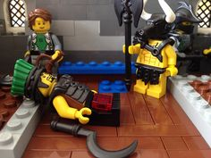 Check out these awesome custom Lego minifigures in this cool scene.  Unfortunately there was an unexpected casualty…the Sea People minifigures is down!  It appears as though he's lost quite a bit of blood.  But fear not!  The Minotaur is beefed up and ready to solve the mystery.  Although, I must say…The minifig wearing the Ranger Helm in the corner looks rather suspicious. #custom #Lego #minifigures #weapons #brickwarriors #minotaur #philistines #castle #medieval