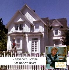 "Jessica Fletcher's charming white Victorian in Cabot Cove on the TV show ""Murder She Wrote"" 
