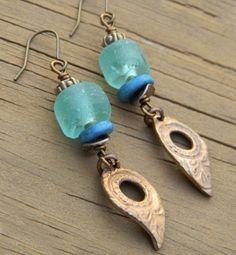 Bronze Leaf Earrings with Aqua Recycled Glass OOAK Handmade