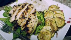 Sesame and ginger crusted chicken, zucchini and blackcurrent balsamic vinegar salad :)