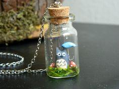Tiny Totoro in the Rain Terrarium Necklace. $20.00, via Etsy.